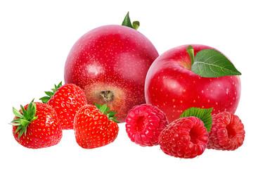 strawberry,apple,raspberry  isolated on white