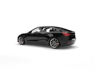 Modern electric family car - shiny black - studio shot