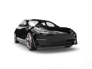 Modern electric family car - shiny black - headlight closeup