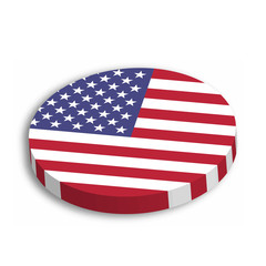 American flag circle 3D button with dropped shadow on white background. United States of America, USA, theme. Vector illustration.