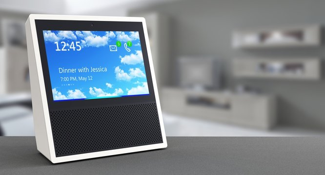 Smart speaker with voice control and display
