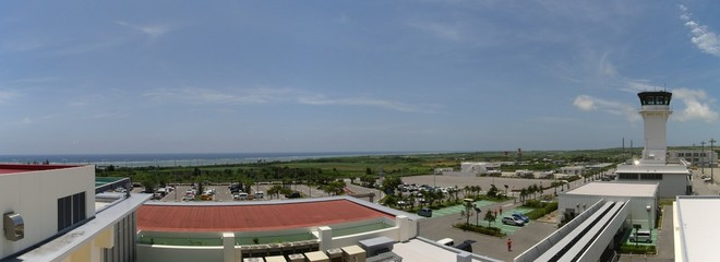 Panoramic view of the Pacific Ocean from the roof terrace of Ishigaki airport