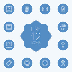Set Of 12 Pleasure Outline Icons Set.Collection Of Film Role, Ice Cream, Speaker And Other Elements.