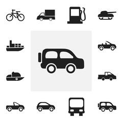 Set Of 12 Editable Transport Icons. Includes Symbols Such As Travel Pickup, Vessel, Fuel And More. Can Be Used For Web, Mobile, UI And Infographic Design.