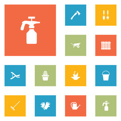 Set Of 12 Household Icons Set.Collection Of Watering Can, Fence, Rake And Other Elements.