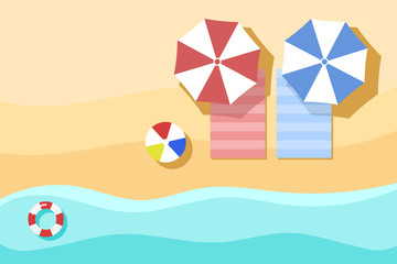 Top view of Beach, summer background. with umbrella, towel, beach ball, swim tube. view from above.