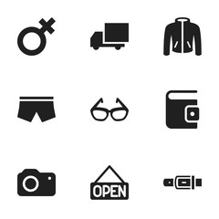 Set Of 9 Editable Shopping Icons. Includes Symbols Such As Explicit, Strap, Photographing And More. Can Be Used For Web, Mobile, UI And Infographic Design.