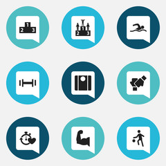 Set Of 9 Editable Sport Icons. Includes Symbols Such As Health Time, Competition, Gauntlet And More. Can Be Used For Web, Mobile, UI And Infographic Design.
