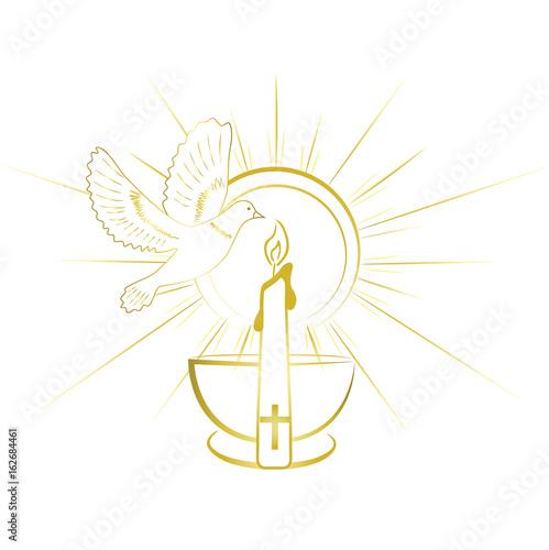 Baptism sacrament symbols gold and simple invitation design stock baptism sacrament symbols gold and simple invitation design stopboris Images