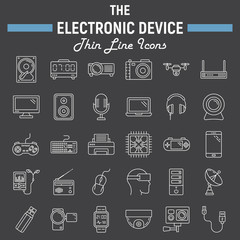 Electronic device line icon set, technology symbols collection, vector sketches, logo illustrations, linear pictograms package isolated on black background, eps 10.
