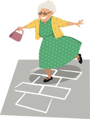 Elderly woman playing hopscotch, EPS 8 vector illustration