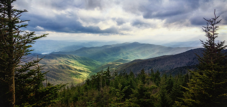 Wide-framed Wilderness. Great Smoky Mountains National Park. View from Clingmans Dome. Picturesque Copy Space.