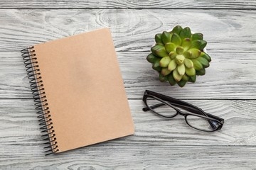 Notebook, plant and glass.
