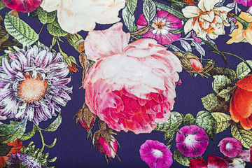 Staple viscose fabric with floral colorful abstract pattern