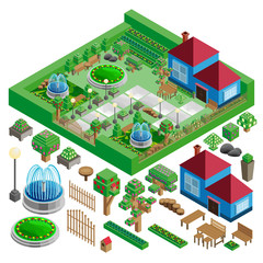 Isometric country house and yard with garden, park; fountains, architecture design elements,  landscape constructor.