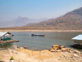 Fishing long tail boat in Thailand lake,summer season