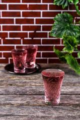 Transparent pink drink
