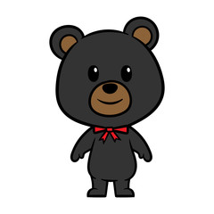 Cartoon Black Bear Character Vector Illustration