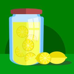 Lemonade in a jar and lemons on a green background vector illustration
