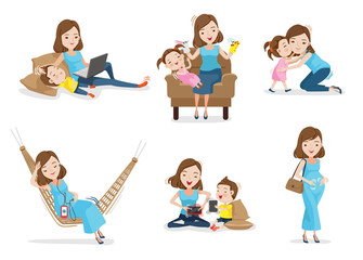 Motherhood Mother and son or daughter Have fun together with mother, Woman gave birth and pregnancy. Concept of motherhood Vector illustrations