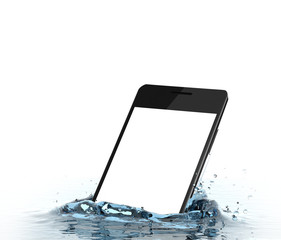 Smartphone with empty screen falls into water. Water splash isolated