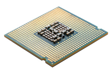 Close up of Electronic CPU on Mainboard computer.