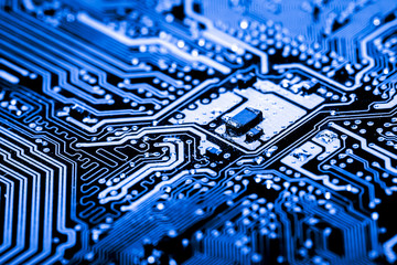Abstract, Close up at electronic circuits, we see the technology of the mainboard, which is the important background of the computer.