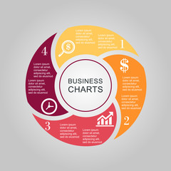 Business Diagram circle 2 3 4 5 6
