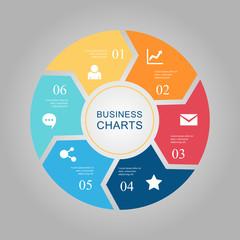 Business Diagram circle 2 3 4 5 6
