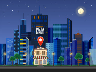 Flat style modern design of urban city landscape with location pin. Pizza cafe