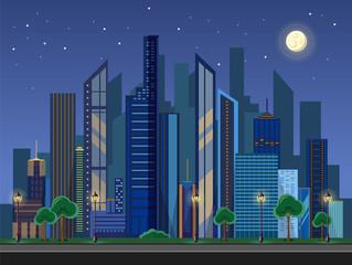 Flat style modern design of urban night city landscape.