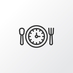 Lunch Time Icon Symbol. Premium Quality Isolated Meal Hour Element In Trendy Style.