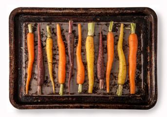 Rainbow Carrots on Baking Tray