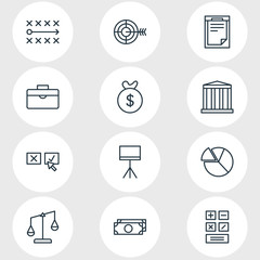Vector Illustration Of 12 Trade Icons. Editable Pack Of Bag, Tactics, Chart And Other Elements.