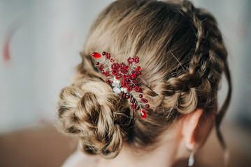 Hair with braided braids and accessories with red stones