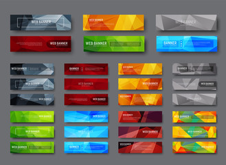Set of horizontal web banners with multicolored polygonal abstract background