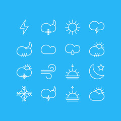 Vector Illustration Of 16 Atmosphere Icons. Editable Pack Of Sunny, Crescent, Sunlight And Other Elements.