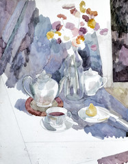 Beginning of the watercolor still-life