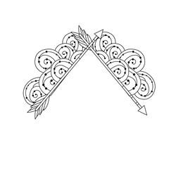 line cute arrows element with ornamental design
