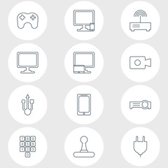 Vector Illustration Of 12 Laptop Icons. Editable Pack Of Number Keypad, Router, Usb Icon And Other Elements.