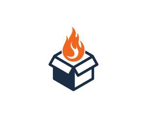 Fire Box Icon Logo Design Element