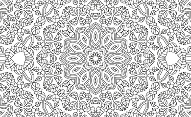 Complex Kaleidoscope Mandala. For Coloring Book. Black Lines on White Background. Abstract Geometric Ornament. Vector.