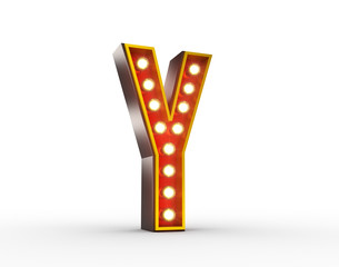 Retro Letter Y with glowing lights for display