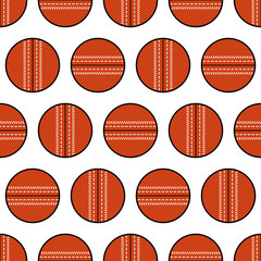 Cricket ball. Seamless pattern, sports equipment. Vector illustration
