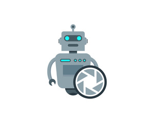 Robot Camera Icon Logo Design Element