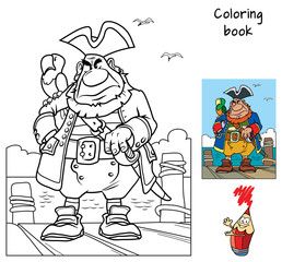 Pirate captain with a parrot is on the dock. Coloring book. Cartoon vector illustration