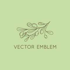 Vector olive oil icon and logo design element in trendy linear style