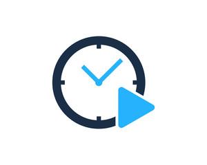 Media Time Icon Logo Design Element