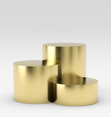 Empty gold winners podium on white background. 3D rendering.