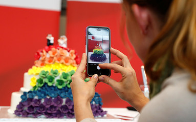 A woman takes a photograph of a cake in the SPD fraction headquarters after a session of the lower house of parliament Bundestag voted on legalising same-sex marriage, in Berlin